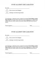Food Allergy Declaration